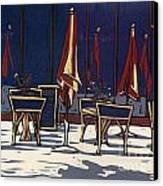 Sidewalk Cafe - Linocut Print Canvas Print by Annie Laurie