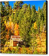Sierra Nevada Rustic Americana Barn With Aspen Fall Color Canvas Print