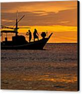 Silhouette Fisherman Boat Sunset Huahin Thailand Canvas Print by Arthit Somsakul