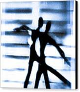 Silhouette Of Dancers Canvas Print by David Ridley