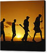 Silhouette Of Laikipia Masai Guides Canvas Print by Richard Nowitz