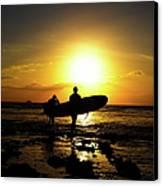 Silhouette Surfers Canvas Print