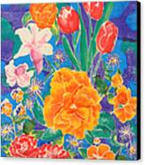 Silk Blooming Flowers Canvas Print by Sandra Fox