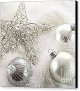 Silver Holiday Ornaments In Feathers Canvas Print by Sandra Cunningham