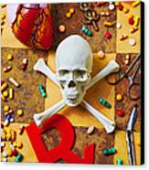 Skull And Bones With Medical Icons Canvas Print