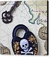Skull And Cross Bones Lock Canvas Print