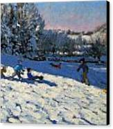 Sledging Near Youlgreave Canvas Print by Andrew Macara