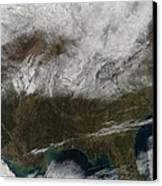 Snow Cover Stretching From Northeastern Canvas Print by Stocktrek Images