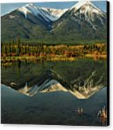 Snow Covered Peaks Of Canadian Rockies Canvas Print by Jeff R Clow