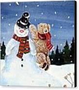Snowman In Top Hat Canvas Print by Gordon Lavender