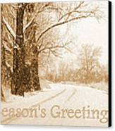 Soft Sepia Season's Greetings Card Canvas Print by Carol Groenen