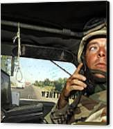 Soldier Monitors The Progress Of A 67 Canvas Print