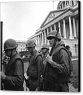 Soldiers Stand Guard Near Us Capitol Canvas Print
