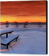 Spectaculat Winter Sunset Canvas Print by Jaroslaw Grudzinski