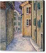 St Ursanne In Snow Canvas Print by Scott Nelson