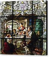 Stained Glass Family Giving Thanks Canvas Print