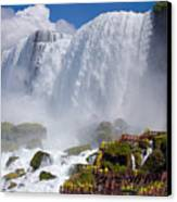 Stairs And Yellow Raincoats Near American Falls Canvas Print