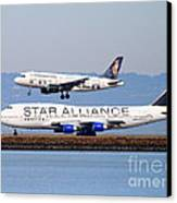 Star Alliance Airlines And Frontier Airlines Jet Airplanes At San Francisco International Airport Canvas Print