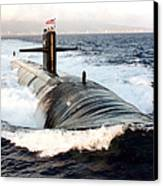 Starboard Bow View Of Attack Submarine Canvas Print by Stocktrek Images