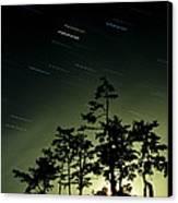 Startrails And Moonlit Fog, Canada Canvas Print by David Nunuk