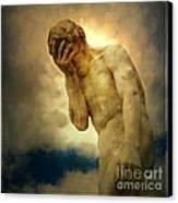 Statue Of Human Covering Face Canvas Print by Bernard Jaubert