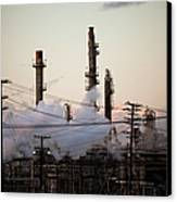 Steam Plumes At Oil Refinery Canvas Print