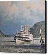 Steamboats On Newburgh Bay William G Muller Canvas Print by Jake Hartz