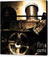 Steampunk Railway Transcontinental Line . Where Steam Is Still King . Gold Version Canvas Print by Wingsdomain Art and Photography