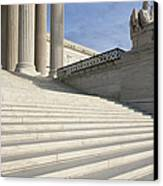 Steps And Statue Of The Supreme Court Building Canvas Print by Roberto Westbrook