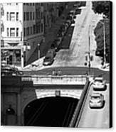 Stockton Street Tunnel Midday Late Summer In San Francisco . Black And White Photograph 7d7499 Canvas Print