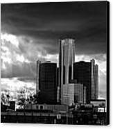 Stormy Detroit Gm Building - Black And White Canvas Print by Alanna Pfeffer
