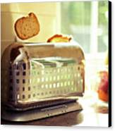 Stylish Chrome Toaster Popping Up Toast Canvas Print by Kelly Sillaste