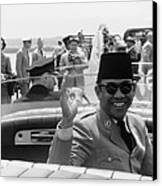 Sukarno, President Of Indonesia Canvas Print by Everett