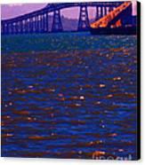 Sun Setting Beyond The Richmond-san Rafael Bridge - California - 5d18435 Canvas Print by Wingsdomain Art and Photography