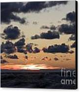Sun Setting With Dramatic Clouds Over Lake Michigan Canvas Print by Christopher Purcell
