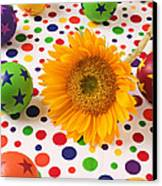 Sunflower And Colorful Balls Canvas Print by Garry Gay