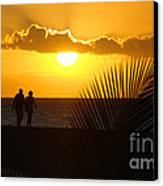 Sunset Couple Canvas Print by Camilla Brattemark