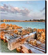 Sunset Longboat Pass Bridge  Canvas Print by Jenny Ellen Photography