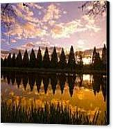 Sunset Reflection In A Park Pond Canvas Print by Craig Tuttle