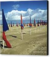 Sunshade On The Beach. Deauville. Normandy Canvas Print by Bernard Jaubert