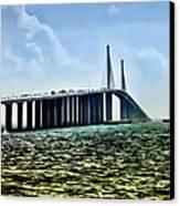 Sunshine Skyway Bridge - Tampa Bay Canvas Print by Bill Cannon