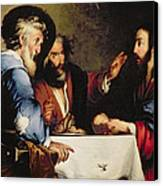 Supper At Emmaus Canvas Print by Bernardo Strozzi