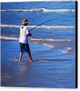 Surf Casting Canvas Print by David Lane