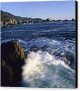 Surf Pounds And Swirls Around Bird Rock Canvas Print by Rich Reid