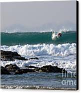 Surfing In Cornwall Canvas Print by Brian Roscorla