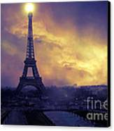 Surreal Fantasy Paris Eiffel Tower Sunset Sky Scene Canvas Print by Kathy Fornal