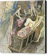 Sweetly Singing Round About They Bed Canvas Print by Warwick Goble