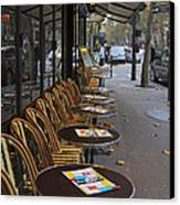 Tables Outside A Paris Bistro On An Autumn Day Canvas Print