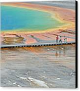 Taking A Stroll At Yellowstone's Grand Prismatic Canvas Print by Bruce Gourley