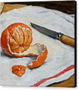 Tangerine And Knife Canvas Print by Thor Wickstrom